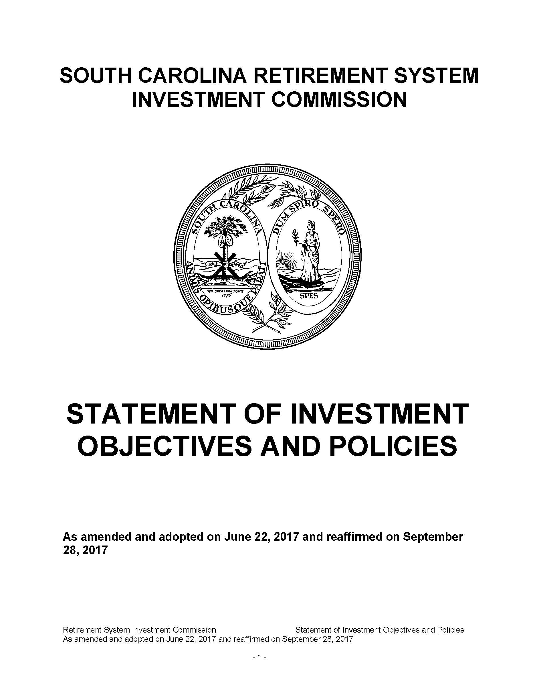 Statement of Investment Objectives and Policies